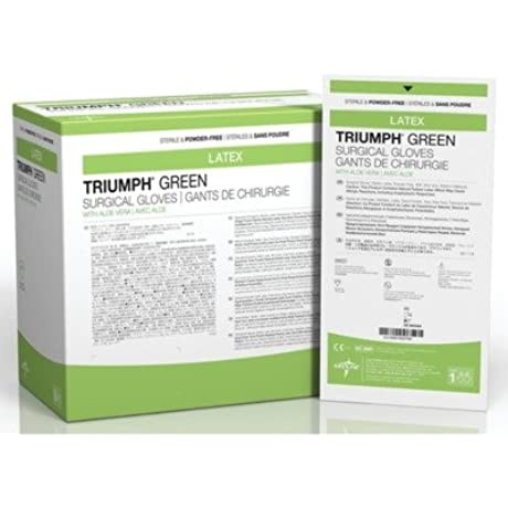 Medline MSG2570 Triumph Green With Aloe Sterile Powder Free Latex Surgical Glove Size 7 Green Pack Of 200