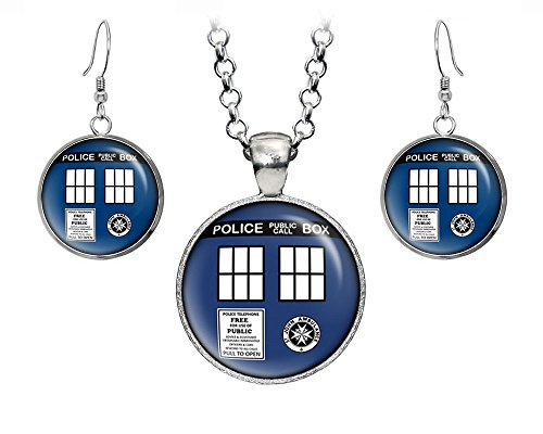 Tardis Doctor Who Necklace, Tardis Pendant, Dr Who Tardis Jewelry, Time Lord Earrings, Weeping Angel, Gallifrey Doctor Who Wedding Party, Geek Gift Geeky Gifts Nerd Nerdy - Sunglasses Doctor Sonic Who