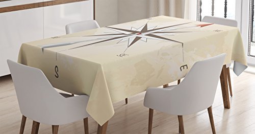 Ambesonne Compass Decor Tablecloth, Compass Rose with Metal Arrow on Vintage Grungy Background Travel Navigation Art, Rectangular Table Cover for Dining Room Kitchen, 52x70 Inches, Beige Red (Vintage Metal Arrow)