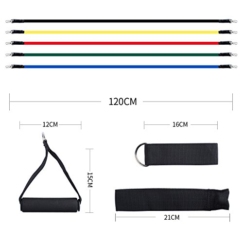 BOGI 11 Pcs Resistance Bands Set - 5 Exercise Bands, 2 Foam Handle, 2 Ankle Straps,Door Anchor, and Carry Bag Gift - Perfect for Resistance Training/Physical Therapy/Gyms Fitness Yoga