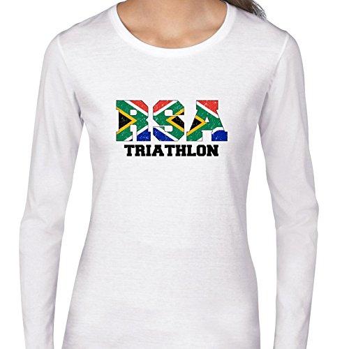 South Africa Triathlon - Olympic Games - Rio - Flag Women's Long Sleeve - Triathlon Clothing Africa South