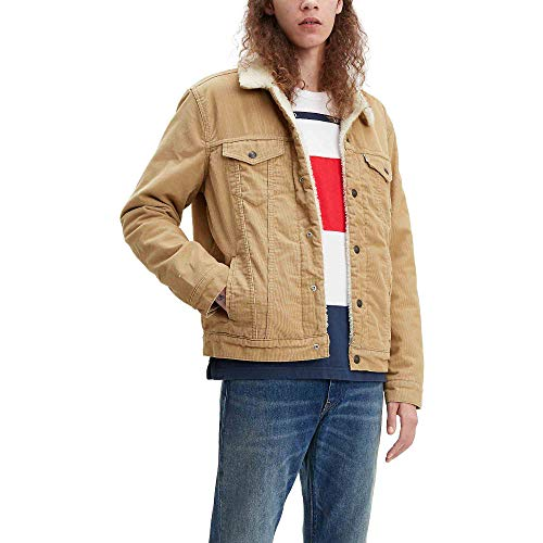 Levi's Men's Sherpa Trucker Jacket, True Chino Corduroy, Large