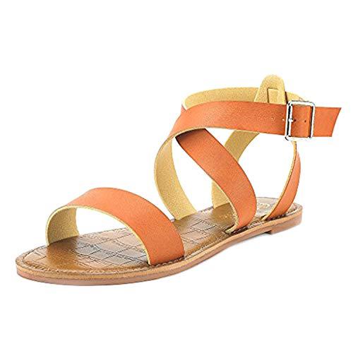 (DREAM PAIRS Women's Open Toe Summer Flat Sandals TAN Size 7.5)
