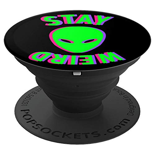 (Hipster Alien Head - Cute Trendy Stay Weird UFO - PopSockets Grip and Stand for Phones and Tablets)