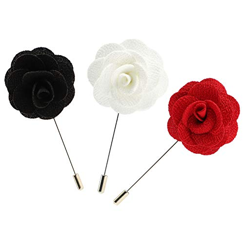 Soleebee 3 Pieces Lapel Flower Pin Men's Camellia Boutonniere Pin for Suit Wedding Party (Black/White/Red)