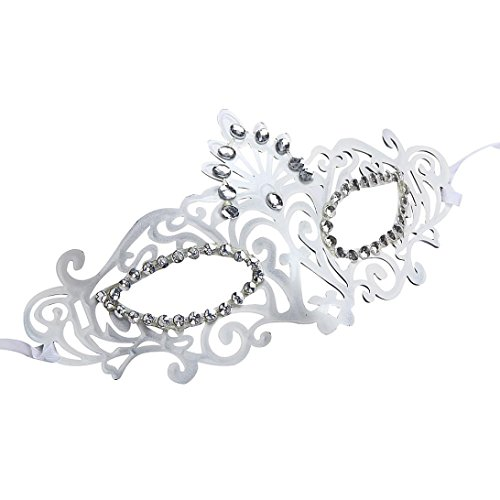 DDLBiz Fashion Venetian Hollow Masquerade Halloween Mask (White) (Beauty Queen Fancy Dress)