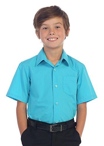 Gioberti Boy's Short Sleeve Solid Dress Shirt, Teal,