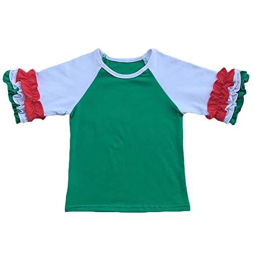 Toddler Little Girls 3/4 Sleeves Icing Ruffle Shirts Kids Baby Raglan Baseball T-Shirt Cotton School Tee Top Fall Clothes Green+White -