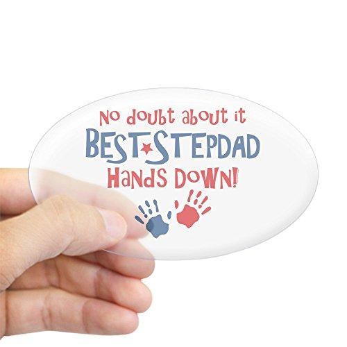 CafePress Hands Down Best Stepdad Oval Sticker Oval Bumper Sticker, Euro Oval Car Decal
