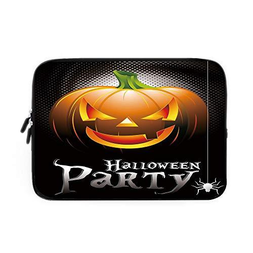 Halloween Laptop Sleeve Bag,Neoprene Sleeve Case/Halloween Party Theme Scary Pumpkin on Abstract Modern Backdrop Spider Decorative/for Apple MacBook Air Samsung Google Acer HP DELL Lenovo ASU