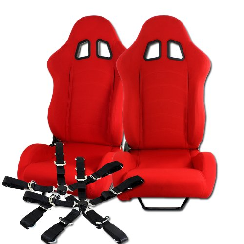 (2 x Red T1 Style Red Universal JDM Reclinable Cloth Racing Seats + Black Seat Belts)