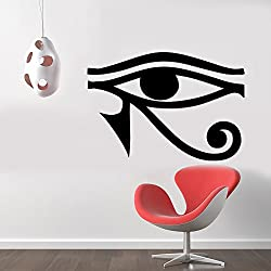Eye of Horus Egyptian Pagan Symbol Removable Wall Sticker Art Home Office Room Mural Decor Vehicle Car Truck Window Bumper Graphic Decal- (6 inch) / (15 cm) Wide MATTE BLACK Color