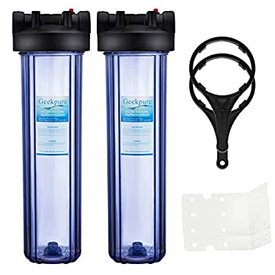 Geekpure Big Blue Whole House Water Filter Housing 1-Inch Outlet/Inlet with Wrench and Bracket -4.5 Inch x 20 Inch - Clear Housing(Pack of 2)