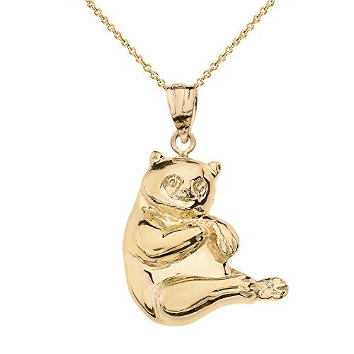 Solid 14k Yellow Gold Panda Bear Charm Pendant Necklace, 18