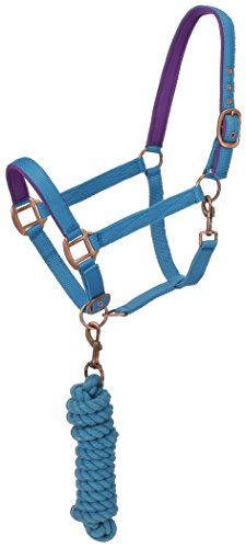 Tough 1 Tough-1 Neoprene padded Halter with Antique Hardware Lead Set, Aqua - Padded Horse Halters