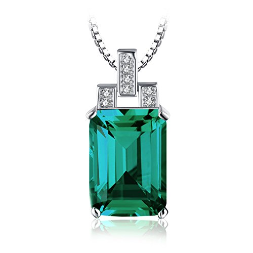 JewelryPalace Luxury 6ct Created Green Nano Russian Emerald Pendant Necklace 925 Sterling Silver 18 Inches (Russian Emerald)