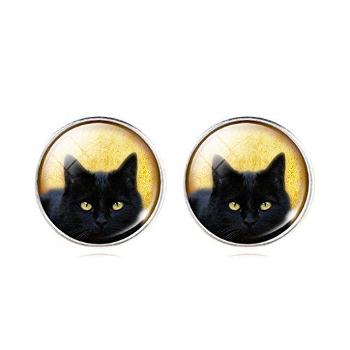 Meek Black Cat Yellow Stud Earrings New Fashion Womens' Animal Theme Earrings