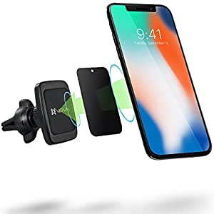 Car Phone Mount, Vena [6Netic] Square Magnetic Cellphone Car Mount, Universal Air Vent Holder for iPhone XR XS MAX X 8 Plus, Galaxy Note 9 S9 S8 Plus, Google Pixel 3/3 XL, LG, HTC, Motorola G6 - Black