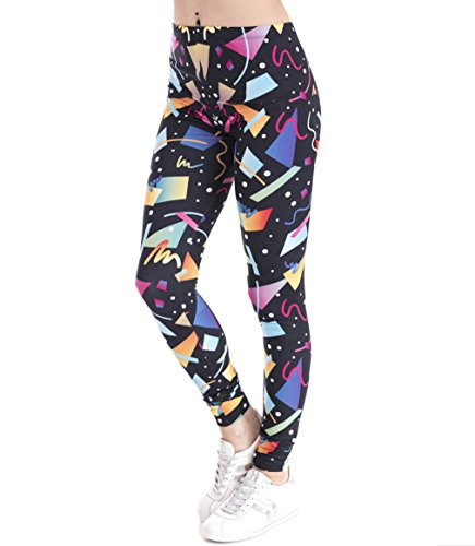 80s Geometric Shapes Leggings for Adult, S to XL