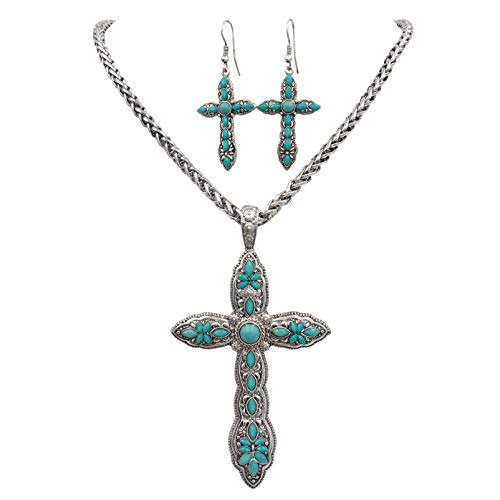 Gypsy Jewels Large Cross Silver Tone Statement Imitation Turquoise Necklace & Dangle Earrings Set (Blue)