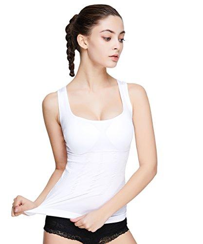 입는 것 뿐(만,만큼) 절식요법 강력 가압 셔츠 이너 가압 브라 톱 레이디스 기분 좋은 고신축 옷감거 뜯을 수 있게 방지 와이드FIX봉제 (화이트, L)