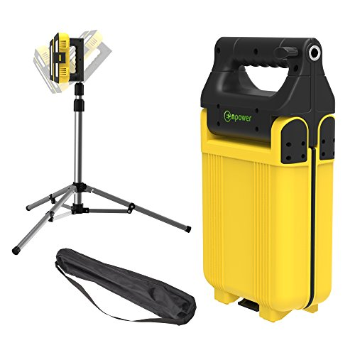 GoGlow LiteBook Bundle - Upgraded 2.0 TRIPOD INCLUDED - 30W Portable Rechargeable Day Light White Light (5000-5500K) Work Light, Camping, Garage or Auto Repair, Emergency (Yellow)