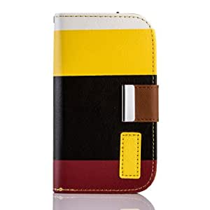 KPI Fashion Luxury PU Leather Wallet Flip Case with Credit Card Slots & Holder For Samsung Galaxy S3 MINI i8190 (Yellow/Black/Red)
