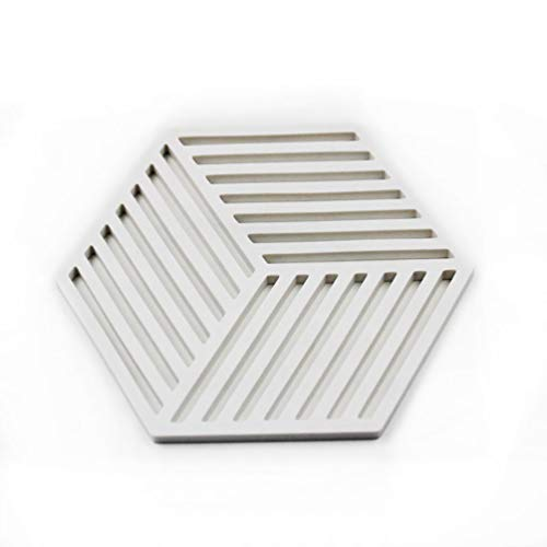 SIUONI Hexagon Stripe Shape 6 Pieces Silicone Trivets Mat Pot Holders Non-Slip Coasters Placemat Baking Mat Table Placemat for Home Kitchen Dining (White)