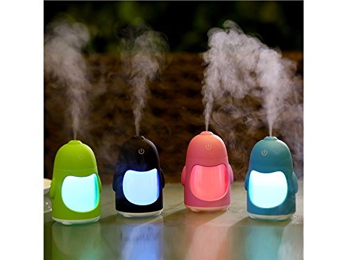 Yunqir Compatible Portable Oil Diffuser Humidifier Penguin USB Humidifier Mute Household Desktop Purifying Air Ultrasonic Humidifier(Blue)