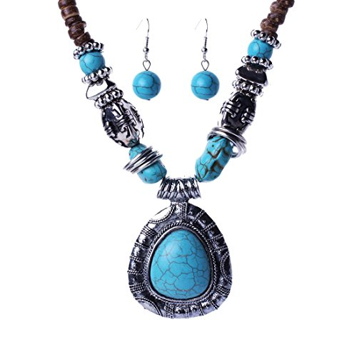 Qiyun Tibet Silver Blue Turquoise Stone Pendant Wooden Beaded Necklace Earrings Set