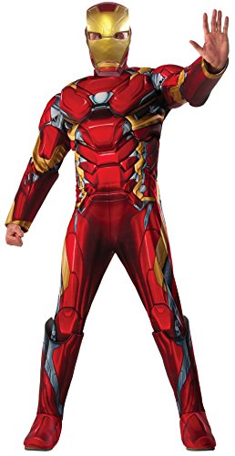 Hawkeye Costumes Marvel Heroes (Marvel Men's Captain America: Civil War Deluxe Muscle Chest Iron Man Costume, Multi, One Size)