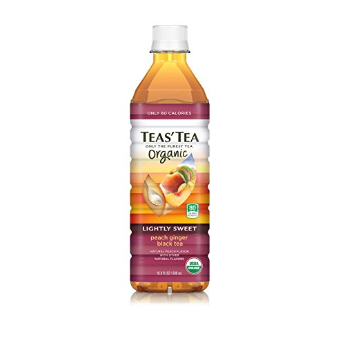 Teas' Tea Organic Lightly Sweet, Peach Ginger Black Tea, 16.9 Ounce (Pack of 12)