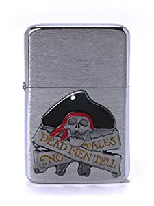 Z-Plus Cool Gas Lighter Pirate chrome with Jetflame