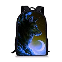 Xinind Boy Backpack With Cool Wolf Printing School Book Bag for Teen Great Gift for Children