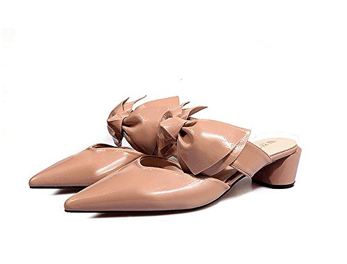 Flat Fluffy On Mules Slip Shoes Pearl Slippers COLOV Pink Women's 4XqpHH