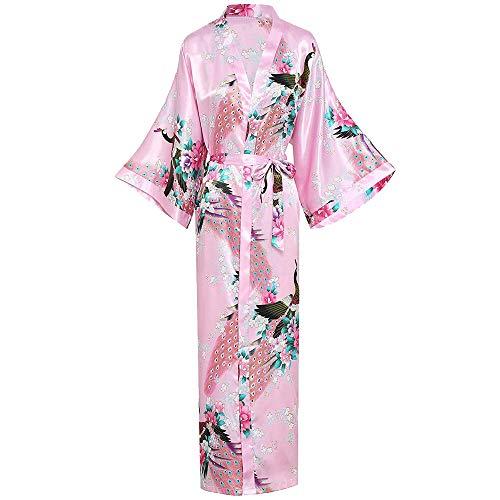 NDJqer Women Long Robe with Pocket Wedding Bride Bridesmaid Dressing Gown Rayon Kimono Night Dress,Pink,L (Maxi Dress For Wedding In Pakistan 2016)