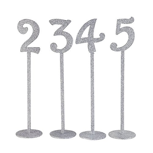 SODIAL(R) Wedding Table Numbers Holders Thicken Wood with Glitter, Silver by SODIAL(R) (Image #4)