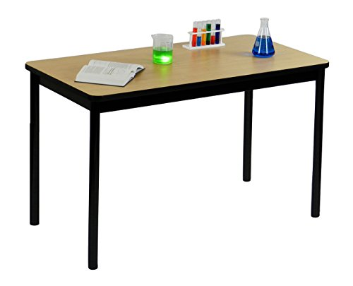 Correll 36'' High Standing / Stool Height Utility Table, 30'' x 60'' Fusion Maple High-Pressure Laminate Top with Black Frame , Rock Solid Commercial Quality (LT3060-16) by Correll (Image #2)