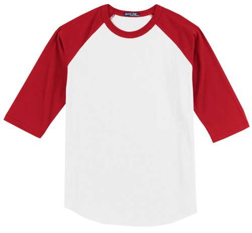 - Sport-Tek raglan sleeve men's or youth baseball t-shirt,XXXXXX-Large,White-Red
