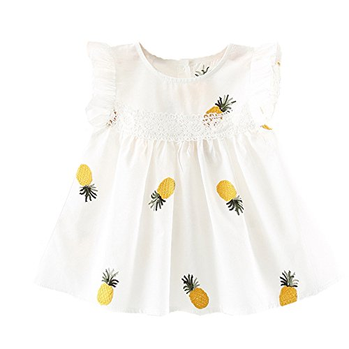 Summer Baby Dress Pineapple Cotton Sleeveless Ruffles Infant Baby Girls Dresses for Toddler Clothes (White, 6-12Months)