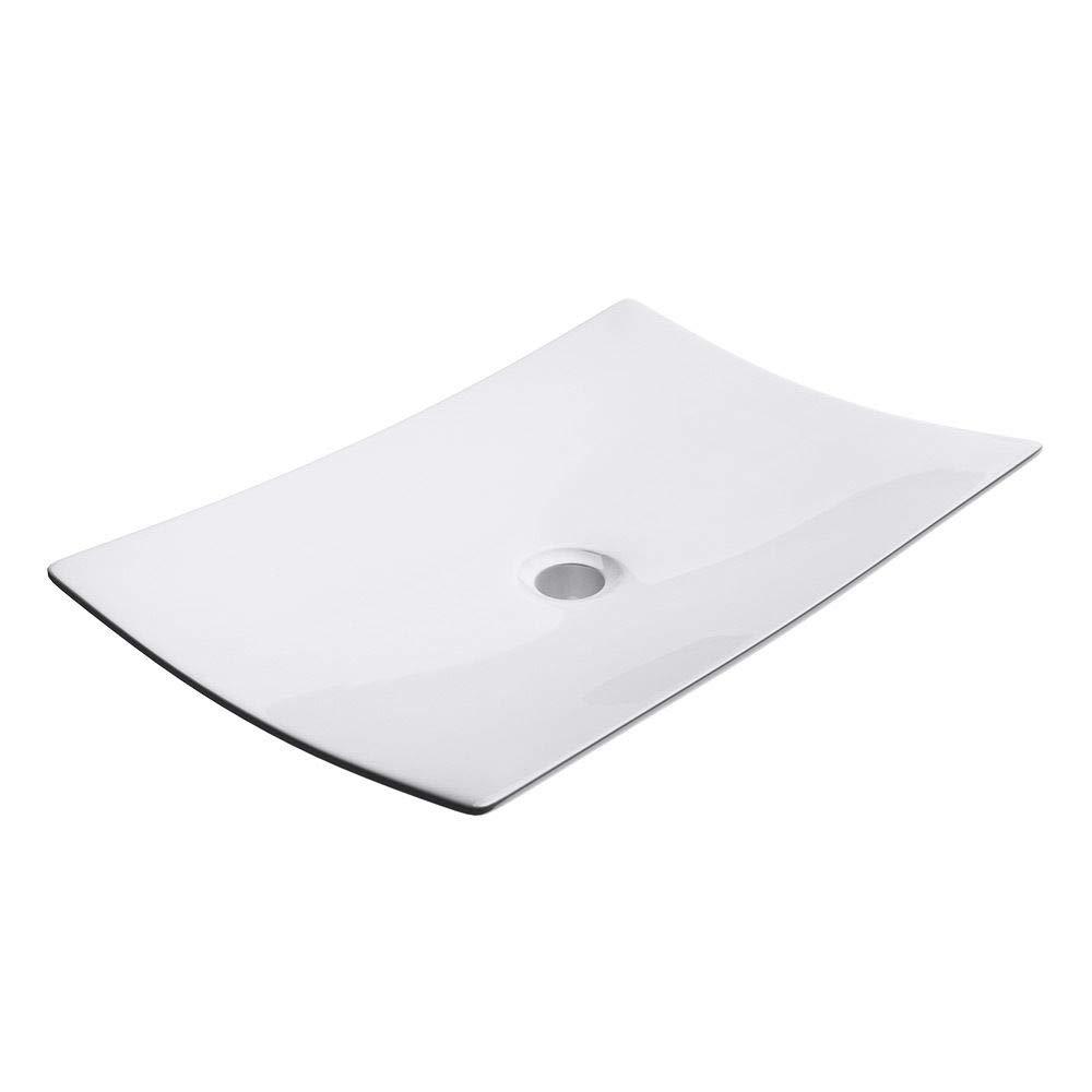 Durovin Bathrooms Ceramic Wash Basin | Counter Top Mounted Modern Rectangular Vessel Sink | 600 x 400mm (WxD)