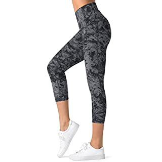 Dragon Fit Compression Yoga Pants Power Stretch Workout Leggings with High Waist Tummy Control (Large, Capri-Carbon Grey Marble)