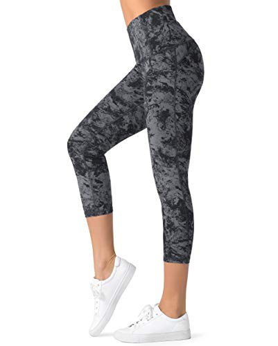 Dragon Fit Compression Yoga Pants Power Stretch Workout Leggings with High Waist Tummy Control (Small, Capri-Carbon Grey Marble)