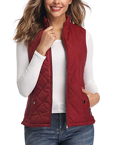 Art3d Quilted Lightweight Vest for Women, Wine Red - L(Fits Like Medium) (Women Plaid Vest)