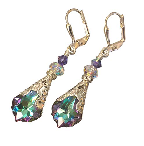 HisJewelsCreations Baroque Crystal Vintage Inspired Leverback Dangle Drop Earrings (Vitrail Light) (Heart Chandelier Earrings)