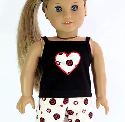 18 inch Doll Pajamas with Ladybug Print Pants and Tank Top