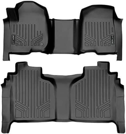 MAXLINER Floor Mats 2 Row Liner Set Black for 2019-2021 Silverado/Sierra 1500/2500/3500 Crew Cab with 1st Row Bench or Bucket Seats