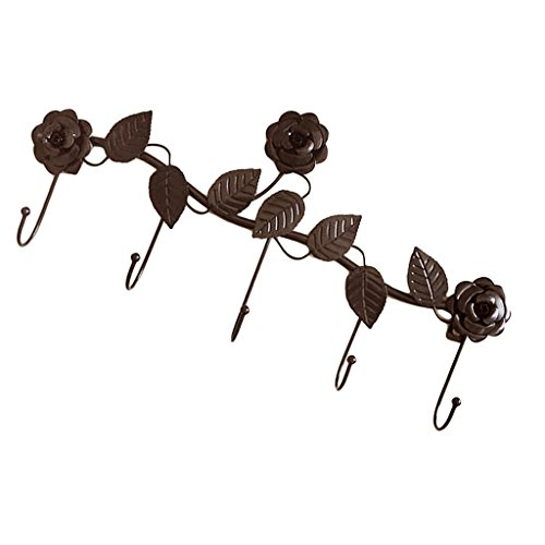 MagiDeal Rose Wall Hook Clothes Hanger Leaf Storage Rack Elegant Bedroom Decorative - Copper by Unknown