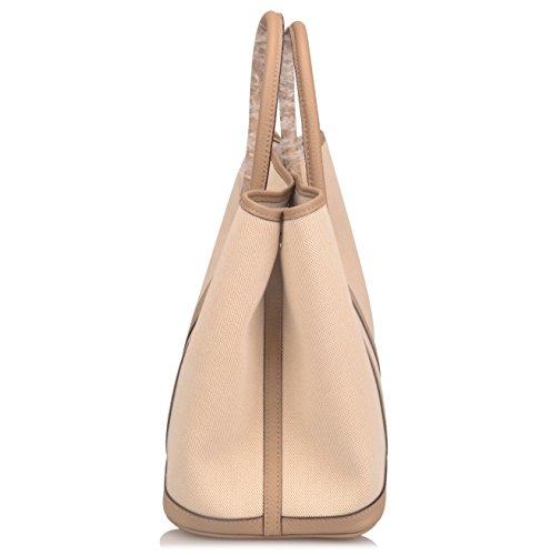Ainifeel Women's Genuine Leather Top Handle Handbag Shopping Bag Tote Bag (Taupe(leather+canvas)) by Ainifeel (Image #3)