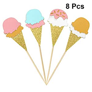 Amosfun 8pcs Cake Toppers Cupcake Topper Ice Cream Shape Shiny Cake Fruit Food Pick Toothpick for Wedding Birthday Hawaii Summer Theme Party Decor